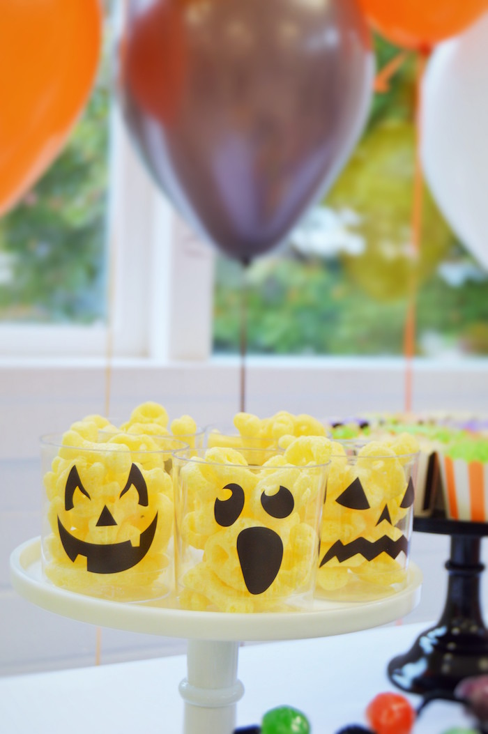 Halloween snack cups from a Spooktacular Halloween Birthday Party on Kara's Party Ideas | KarasPartyIdeas.com (29)