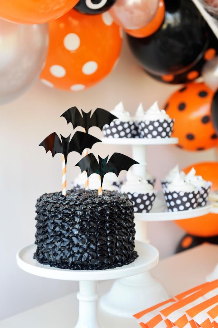 Spooky bat cake from a Spooky Halloween Party on Kara's Party Ideas | KarasPartyIdeas.com (18)