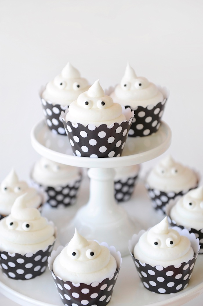 Ghost cupcakes from a Spooky Halloween Party on Kara's Party Ideas | KarasPartyIdeas.com (17)