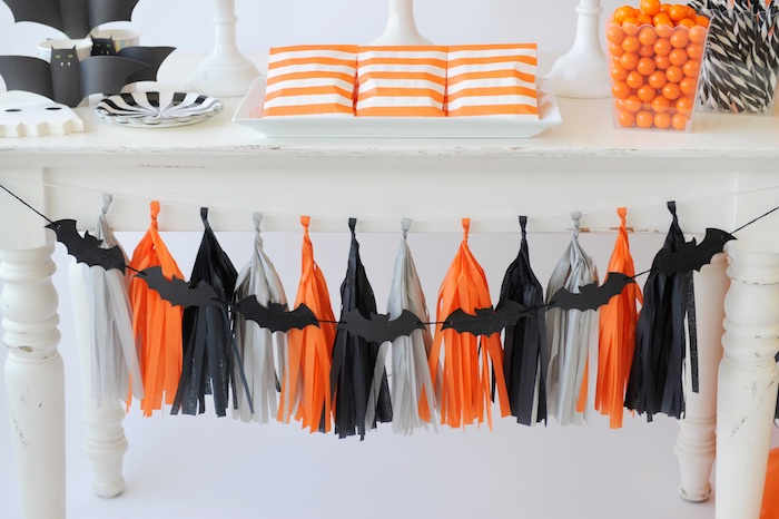 Bat tassel garland from a Spooky Halloween Party on Kara's Party Ideas | KarasPartyIdeas.com (14)