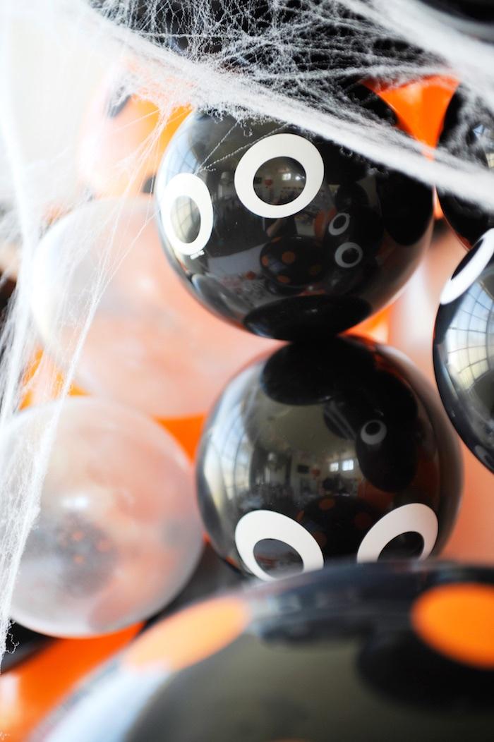 Spider balloons from a Spooky Halloween Party on Kara's Party Ideas | KarasPartyIdeas.com (10)