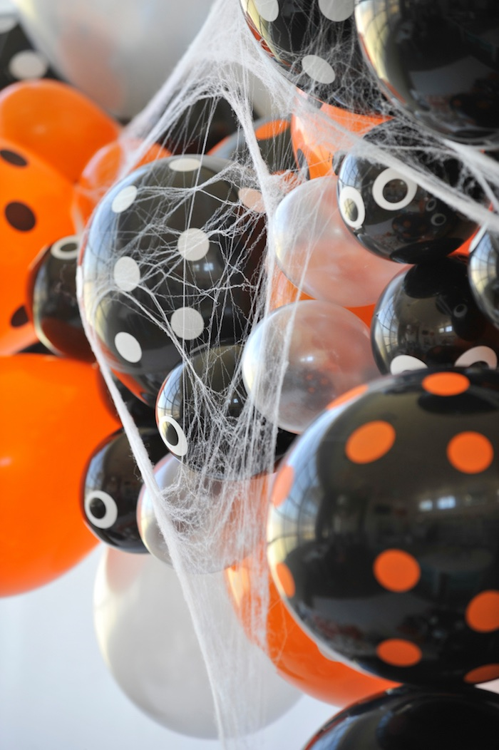 Spider balloons from a Spooky Halloween Party on Kara's Party Ideas | KarasPartyIdeas.com (8)