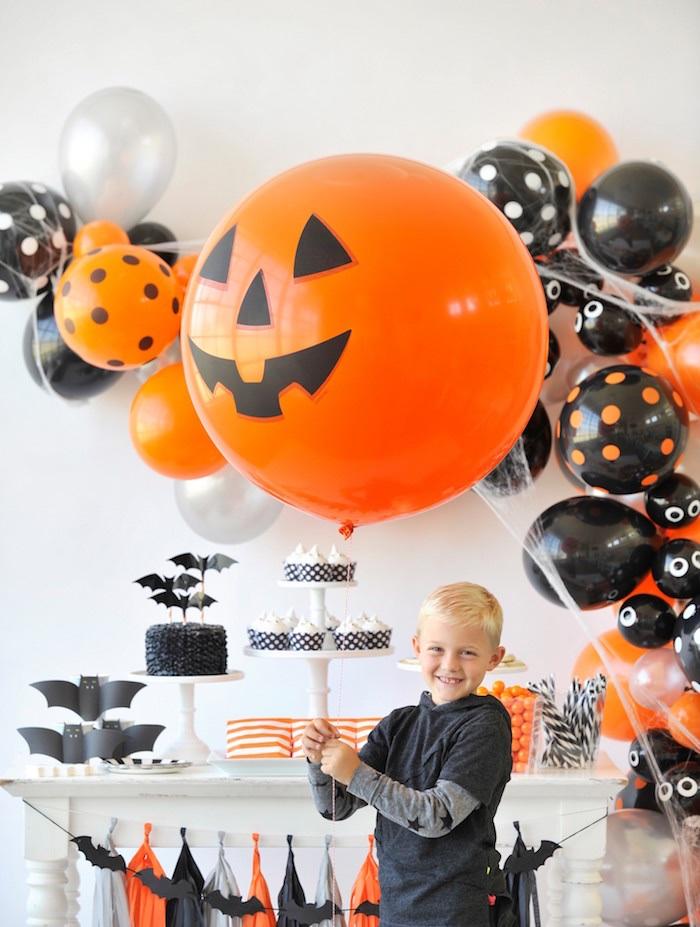 Jumbo jack-o-lantern balloon from a Spooky Halloween Party on Kara's Party Ideas | KarasPartyIdeas.com (25)