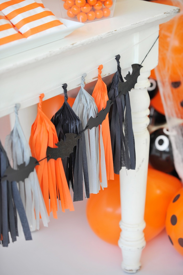 Bat tassel garland from a Spooky Halloween Party on Kara's Party Ideas | KarasPartyIdeas.com (22)