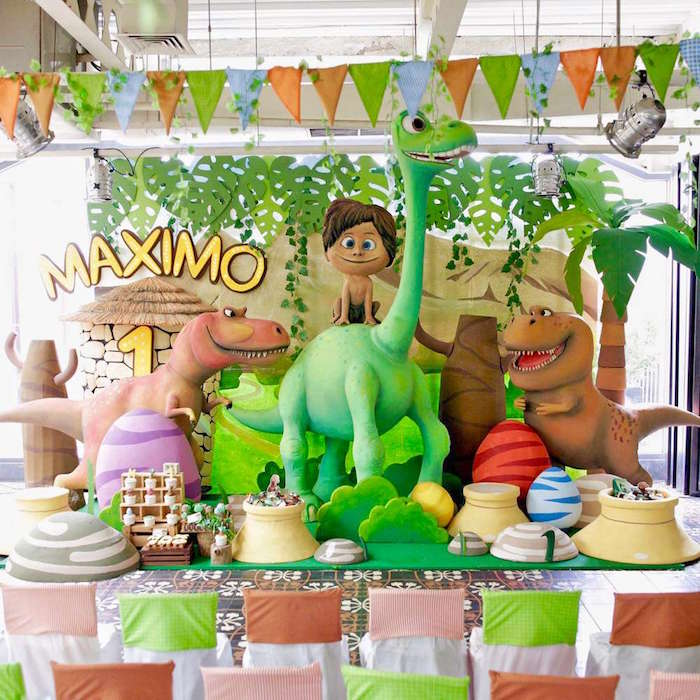 Dessert spread & party backdrop from The Good Dinosaur Birthday Party on Kara's Party Ideas | KarasPartyIdeas.com (3)