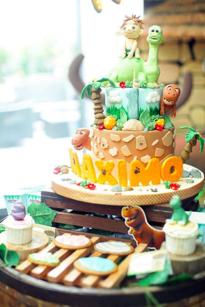 Good Dinosaur Birthday Cake from a Good Dinosaur Birthday Party on Kara's Party Ideas | KarasPartyIdeas.com (16)