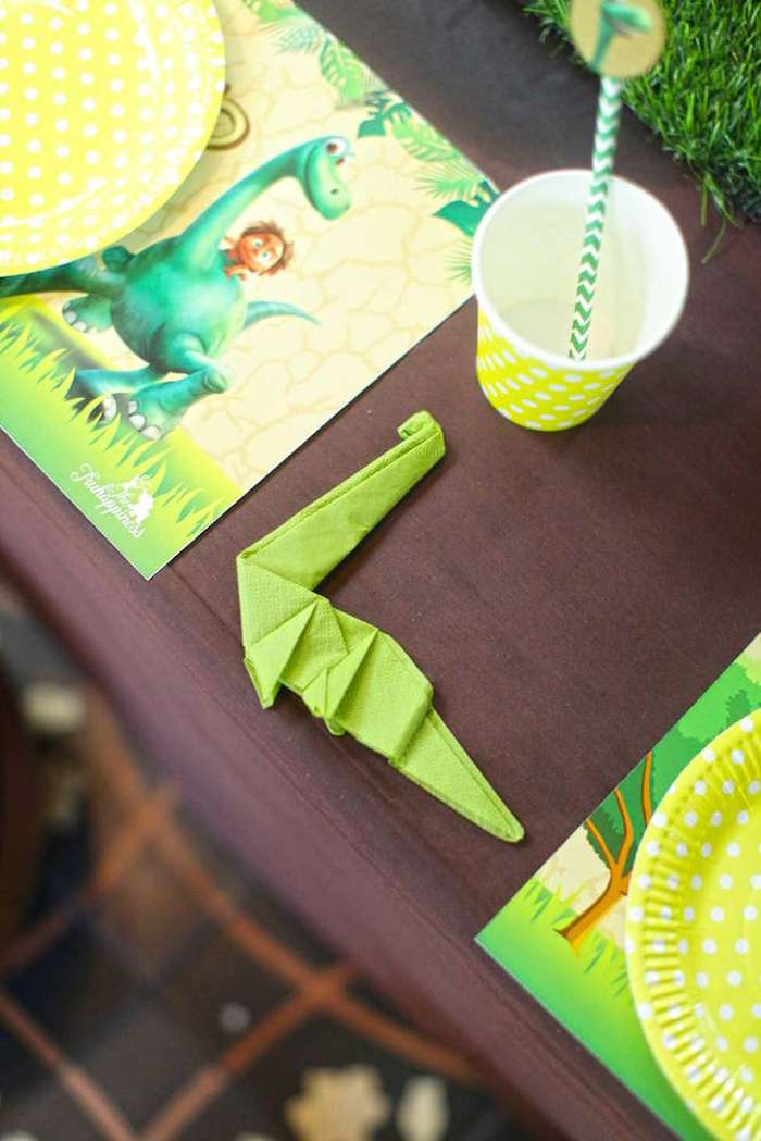 Dinosaur napkin from a Good Dinosaur Birthday Party on Kara's Party Ideas | KarasPartyIdeas.com (9)