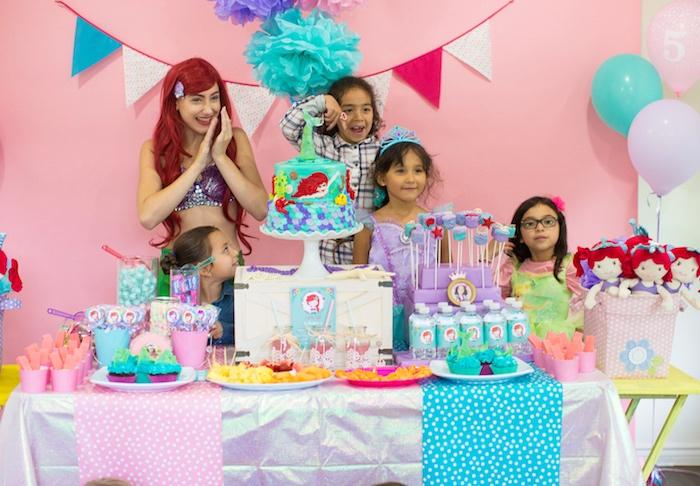 Dessert spread from a Little Mermaid Birthday Party on Kara's Party Ideas | KarasPartyIdeas.com (5)