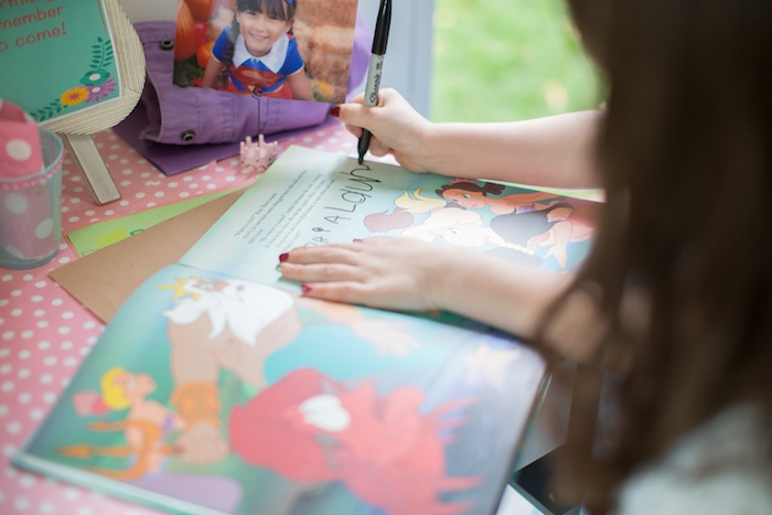 The Little Mermaid story guestbook from a Little Mermaid Birthday Party on Kara's Party Ideas | KarasPartyIdeas.com (4)