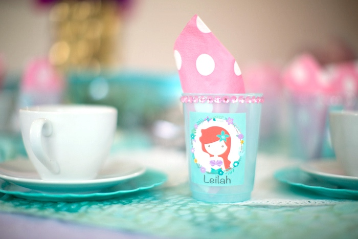 Place setting from a Little Mermaid Birthday Party on Kara's Party Ideas | KarasPartyIdeas.com (19)