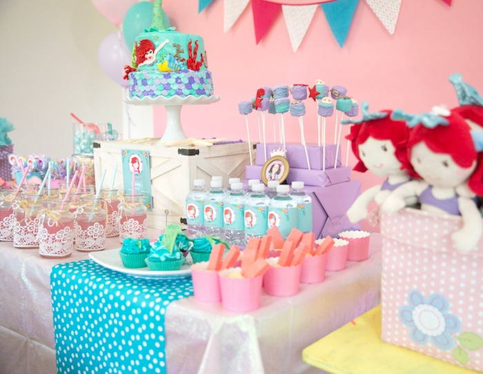 Sweet Table From A Little Mermaid Birthday Party On Karas Ideas