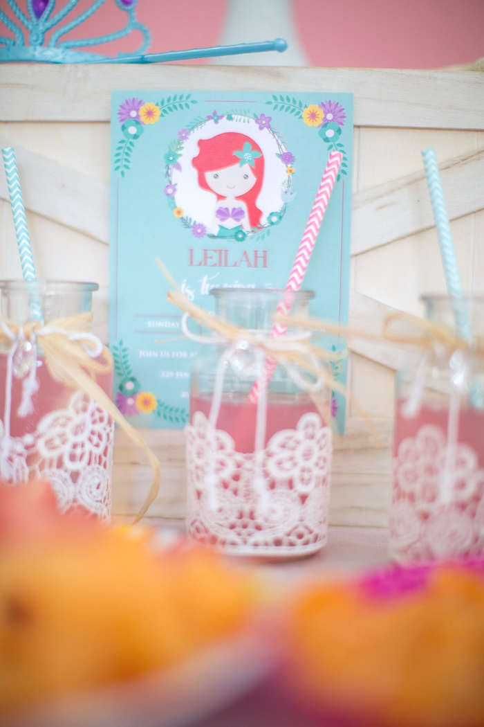Drink bottles adorned in lace from a Little Mermaid Birthday Party on Kara's Party Ideas | KarasPartyIdeas.com (11)