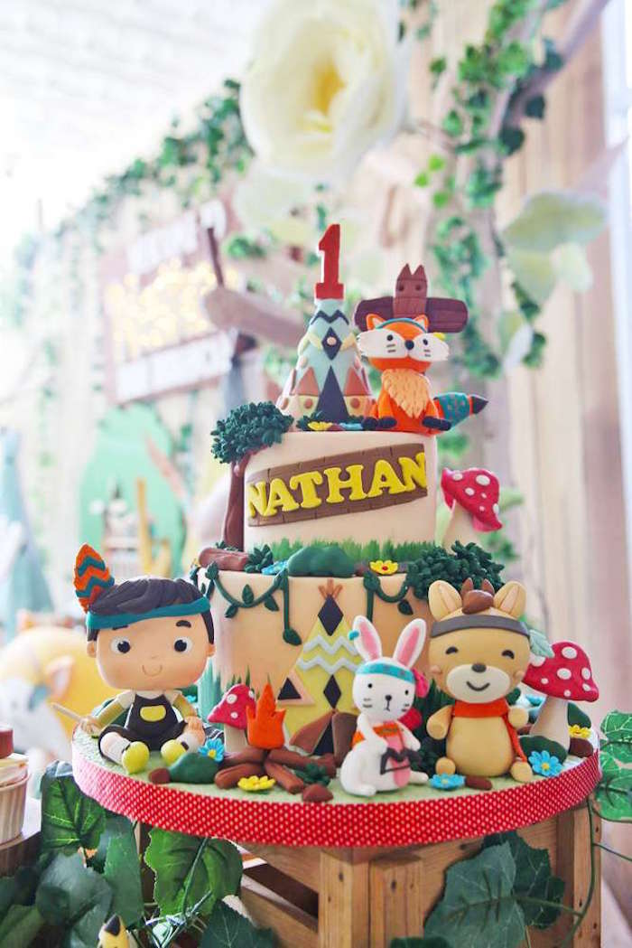 Woodland tribal cake from a Tribal Indian Camping Party on Kara's Party Ideas   KarasPartyIdeas.com (18)