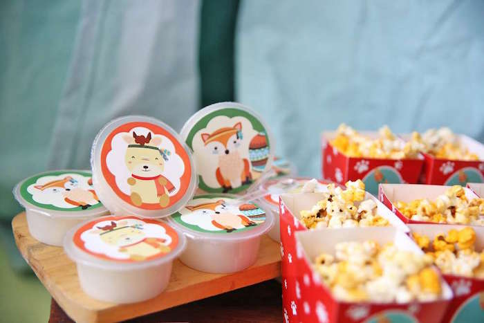 Pudding cups + popcorn from a Tribal Indian Camping Party on Kara's Party Ideas   KarasPartyIdeas.com (9)