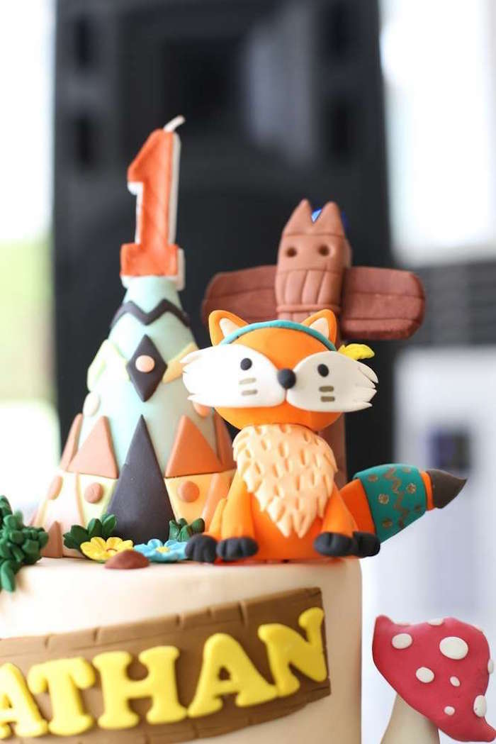 Woodland tribal cake top from a Tribal Indian Camping Party on Kara's Party Ideas   KarasPartyIdeas.com (8)