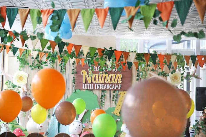 Camp backdrop from a Tribal Indian Camping Party on Kara's Party Ideas   KarasPartyIdeas.com (5)