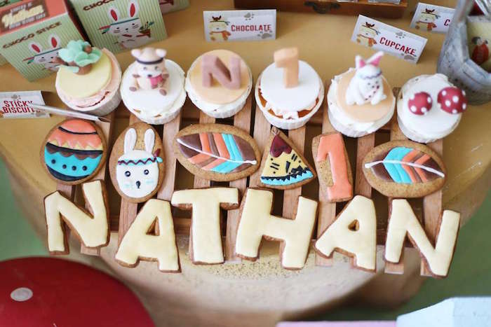 Tribal cookies & cupcakes from a Tribal Indian Camping Party on Kara's Party Ideas   KarasPartyIdeas.com (22)
