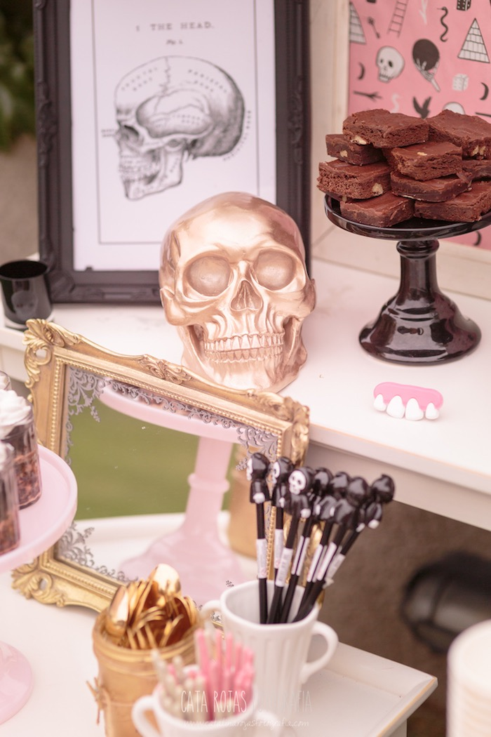 Gold skull from a Trick or Treat in Halloween Party on Kara's Party Ideas | KarasPartyIdeas.com (30)