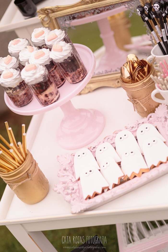 Pink + gold party table from a Trick or Treat in Halloween Party on Kara's Party Ideas | KarasPartyIdeas.com (28)
