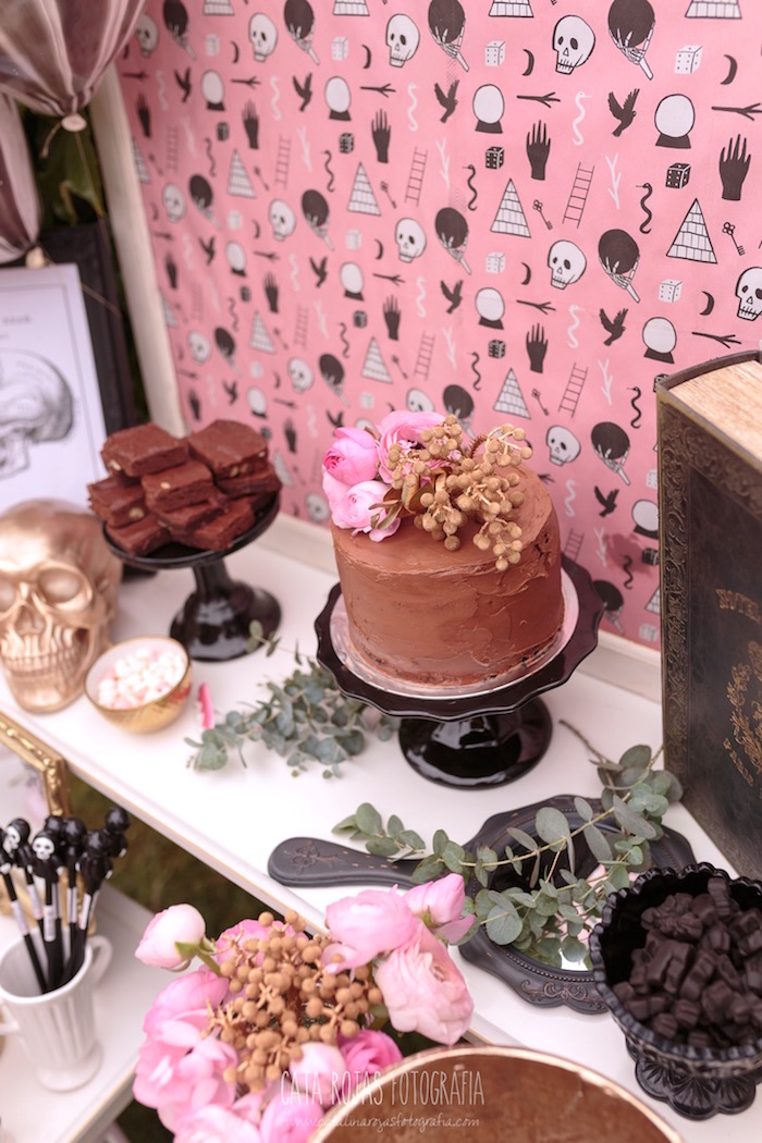 Cake table from a Trick or Treat in Halloween Party on Kara's Party Ideas | KarasPartyIdeas.com (25)