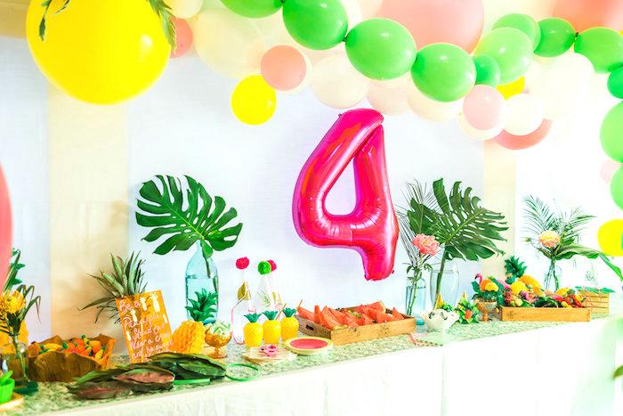 Party table from a Tropical FOURest Birthday Party on Kara's Party Ideas | KarasPartyIdeas.com (41)