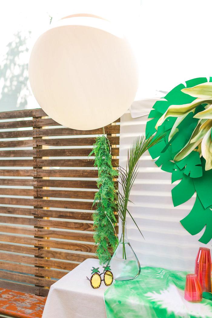 White jumbo balloon with fern tassel tail from a Tropical FOURest Birthday Party on Kara's Party Ideas | KarasPartyIdeas.com (40)