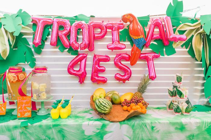 Party table from a Tropical FOURest Birthday Party on Kara's Party Ideas | KarasPartyIdeas.com (39)