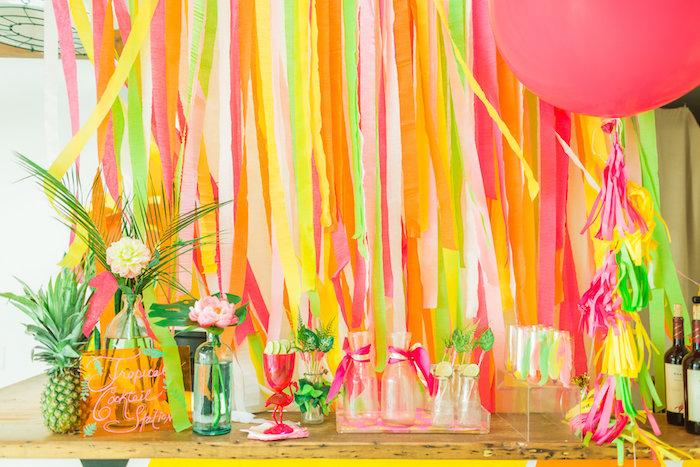 Cocktail station from a Tropical FOURest Birthday Party on Kara's Party Ideas | KarasPartyIdeas.com (37)