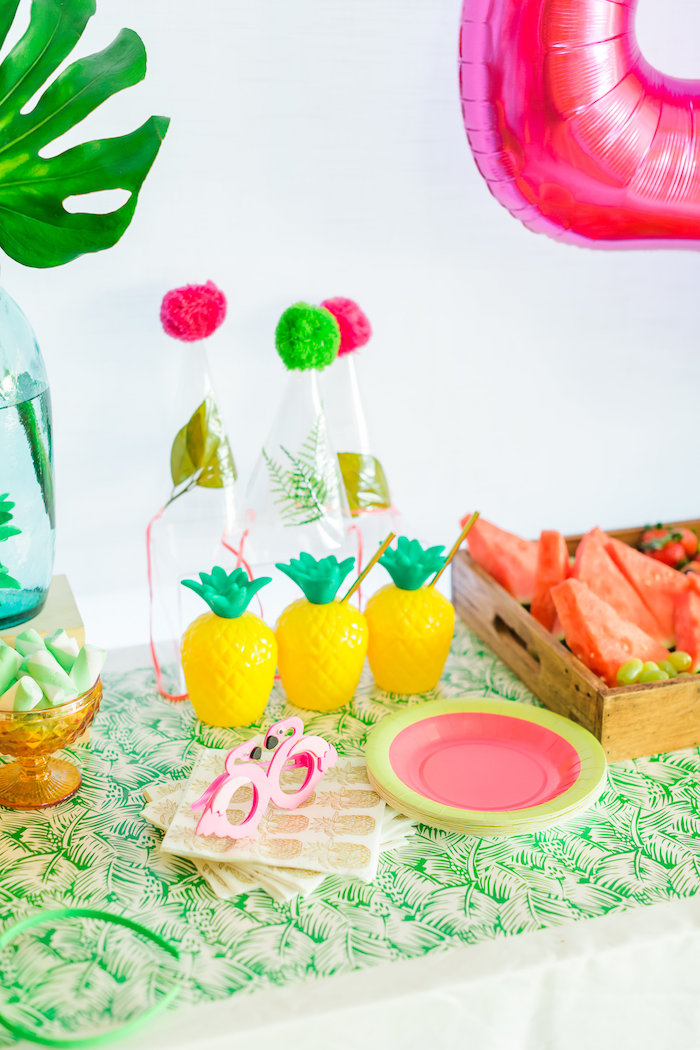 Pineapple cups + party hats + plates from a Tropical FOURest Birthday Party on Kara's Party Ideas | KarasPartyIdeas.com (33)