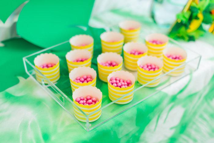 Candy cups from a Tropical FOURest Birthday Party on Kara's Party Ideas | KarasPartyIdeas.com (30)