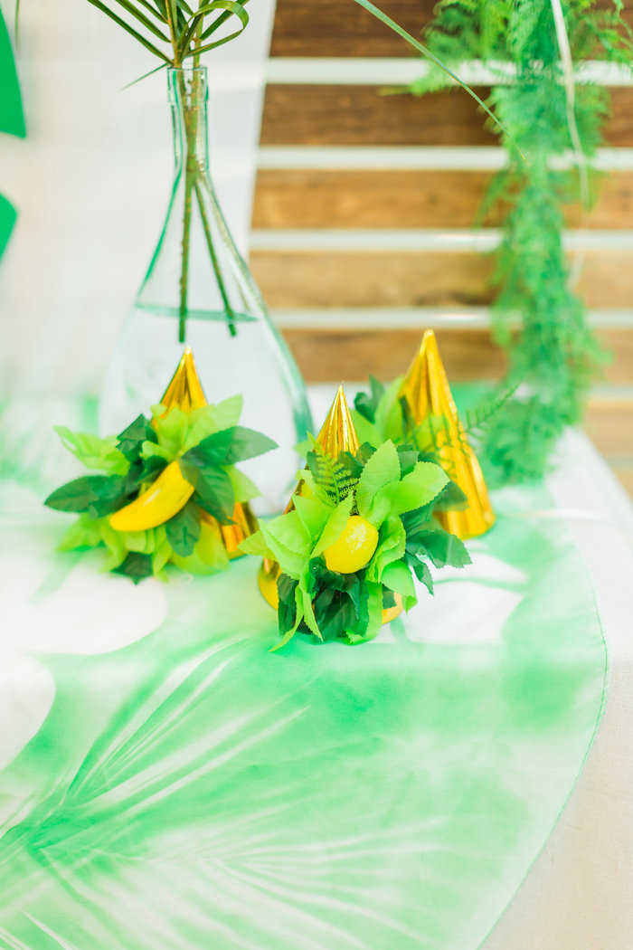 Party hats from a Tropical FOURest Birthday Party on Kara's Party Ideas | KarasPartyIdeas.com (29)