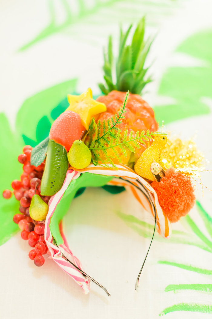 Carmen Miranda fruit headdress from a Tropical FOURest Birthday Party on Kara's Party Ideas | KarasPartyIdeas.com (28)