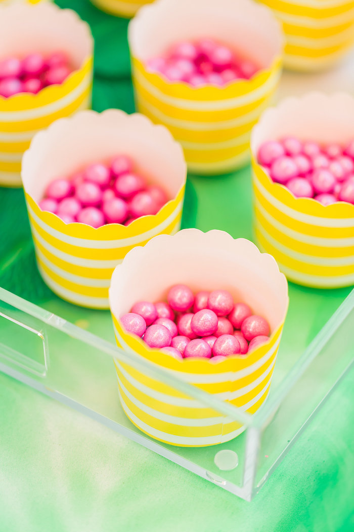 Pink Sixlets in yellow party cups from a Tropical FOURest Birthday Party on Kara's Party Ideas | KarasPartyIdeas.com (27)