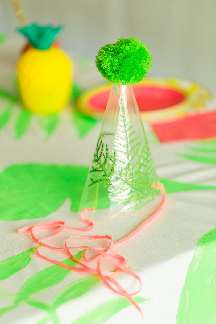 Fern and pom party hat from a Tropical FOURest Birthday Party on Kara's Party Ideas | KarasPartyIdeas.com (25)