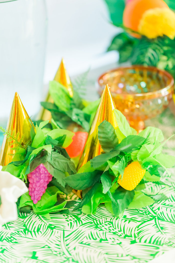 Tropical party hats from a Tropical FOURest Birthday Party on Kara's Party Ideas | KarasPartyIdeas.com (24)