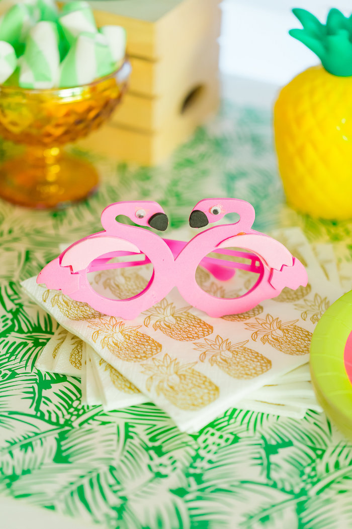 Flamingo glasses and pineapple napkins from a Tropical FOURest Birthday Party on Kara's Party Ideas | KarasPartyIdeas.com (23)