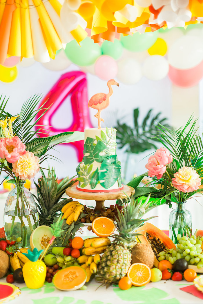 Cake table from a Tropical FOURest Birthday Party on Kara's Party Ideas | KarasPartyIdeas.com (50)