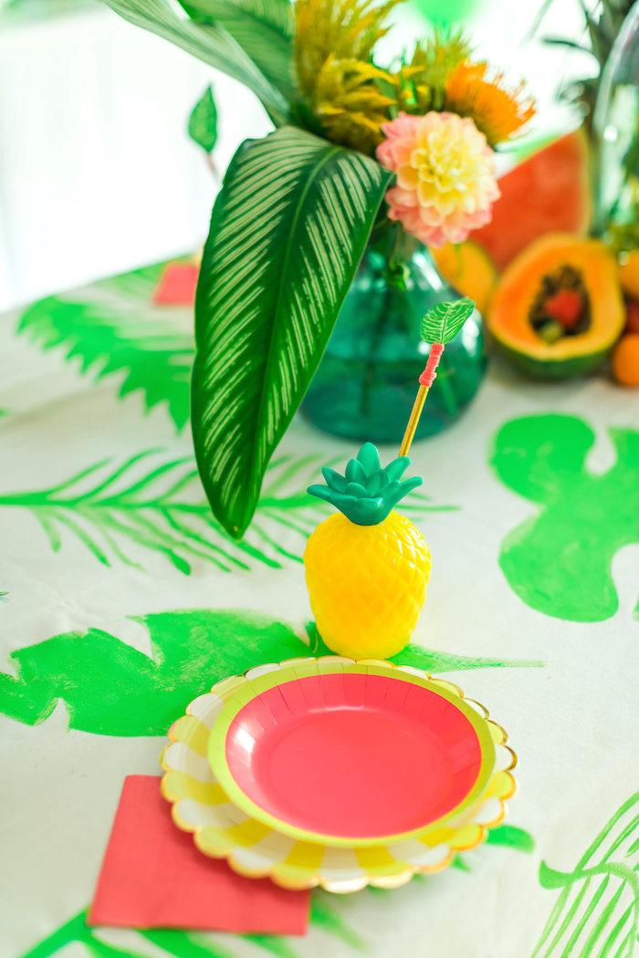 Place setting from a Tropical FOURest Birthday Party on Kara's Party Ideas | KarasPartyIdeas.com (22)