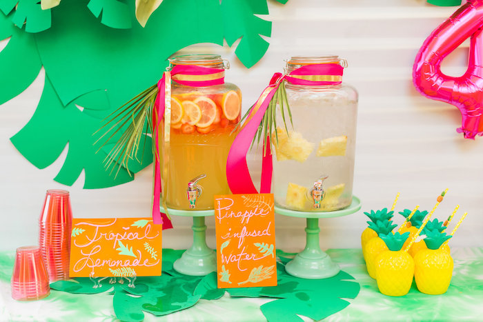 Beverage station from a Tropical FOURest Birthday Party on Kara's Party Ideas | KarasPartyIdeas.com (20)