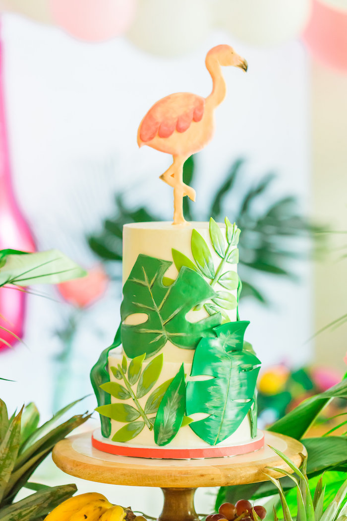 Fern and flamingo cake from a Tropical FOURest Birthday Party on Kara's Party Ideas | KarasPartyIdeas.com (19)