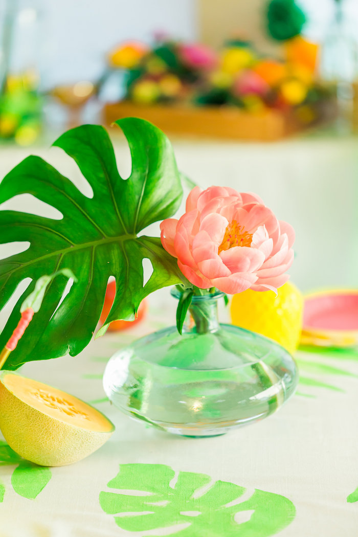 Fern and flower centerpiece from a Tropical FOURest Birthday Party on Kara's Party Ideas | KarasPartyIdeas.com (18)