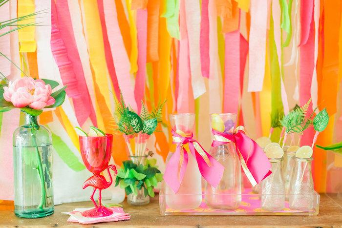 Cocktail station from a Tropical FOURest Birthday Party on Kara's Party Ideas | KarasPartyIdeas.com (17)