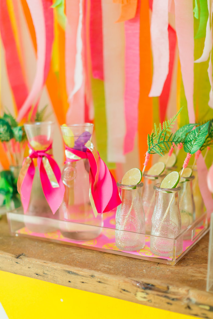 Drink mugs + bottles from a Tropical FOURest Birthday Party on Kara's Party Ideas | KarasPartyIdeas.com (16)