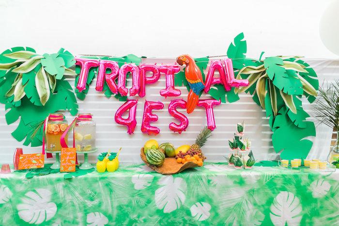 Party table from a Tropical FOURest Birthday Party on Kara's Party Ideas | KarasPartyIdeas.com (15)