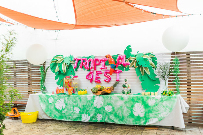 Party table from a Tropical FOURest Birthday Party on Kara's Party Ideas | KarasPartyIdeas.com (14)