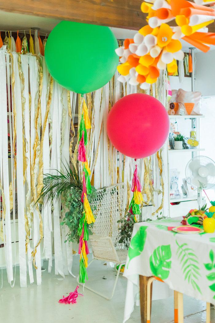 Oversized balloons from a Tropical FOURest Birthday Party on Kara's Party Ideas | KarasPartyIdeas.com (13)