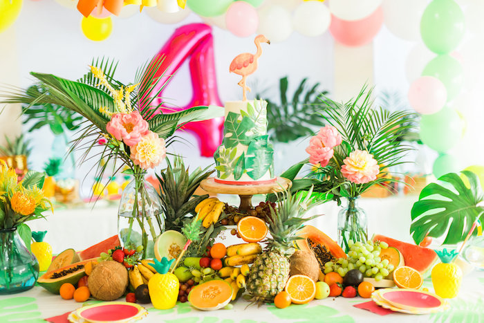 Cake table from a Tropical FOURest Birthday Party on Kara's Party Ideas | KarasPartyIdeas.com (49)
