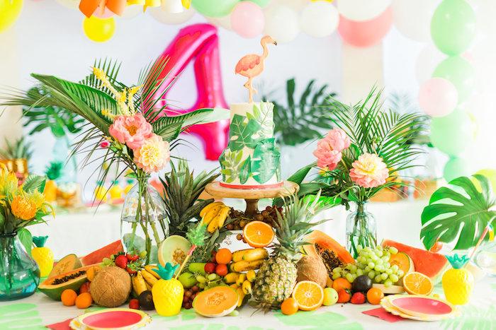 Cake table from a Tropical FOURest Birthday Party on Kara's Party Ideas | KarasPartyIdeas.com (49)