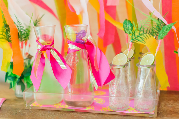 Drink mugs and bottles from a Tropical FOURest Birthday Party on Kara's Party Ideas | KarasPartyIdeas.com (12)