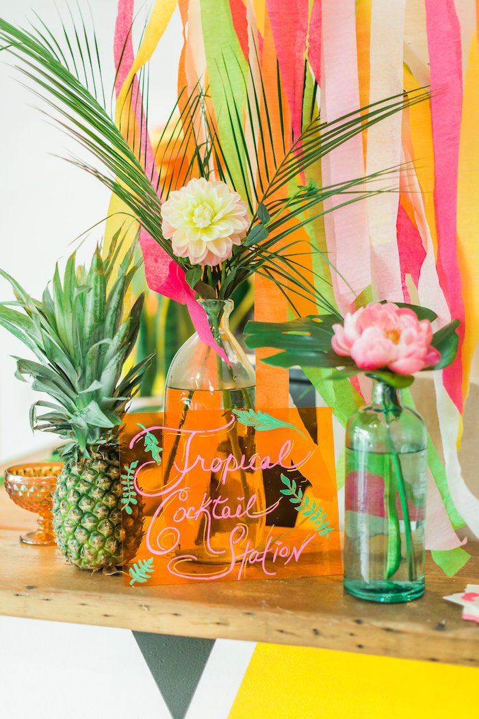 Party sign + decor from a Tropical FOURest Birthday Party on Kara's Party Ideas | KarasPartyIdeas.com (11)
